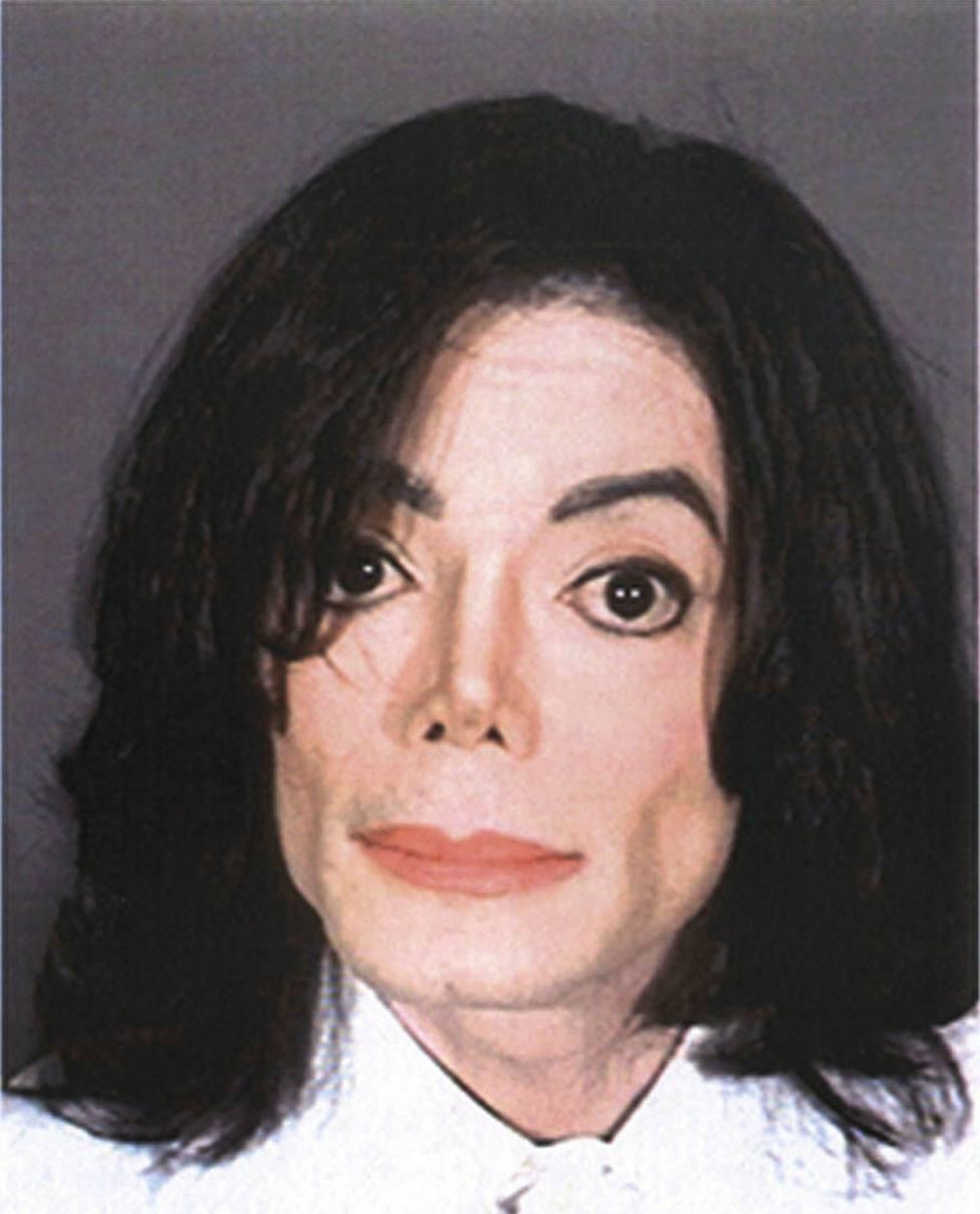File photo shows pop star Michael Jackson pictured in his booking mug in Santa Barbara -0221HTEL.JPG-