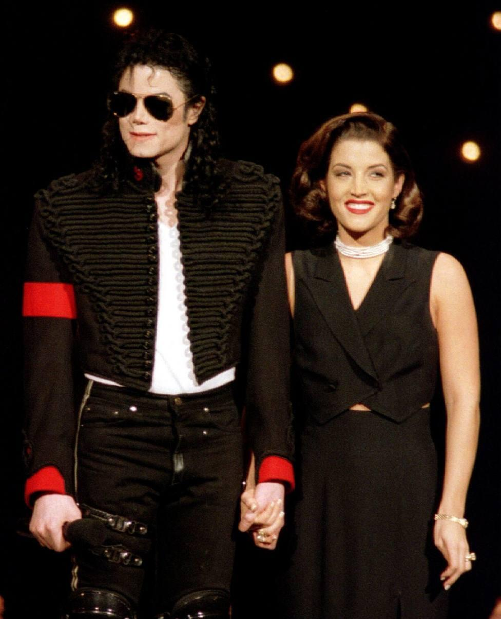 File photo of recently married Michael Jackson and Lisa Marie Presley appear on stage at the 11th Annual MTV Video Music Awards at Radio City Music Hall in New York -0171HTX9.JPG-