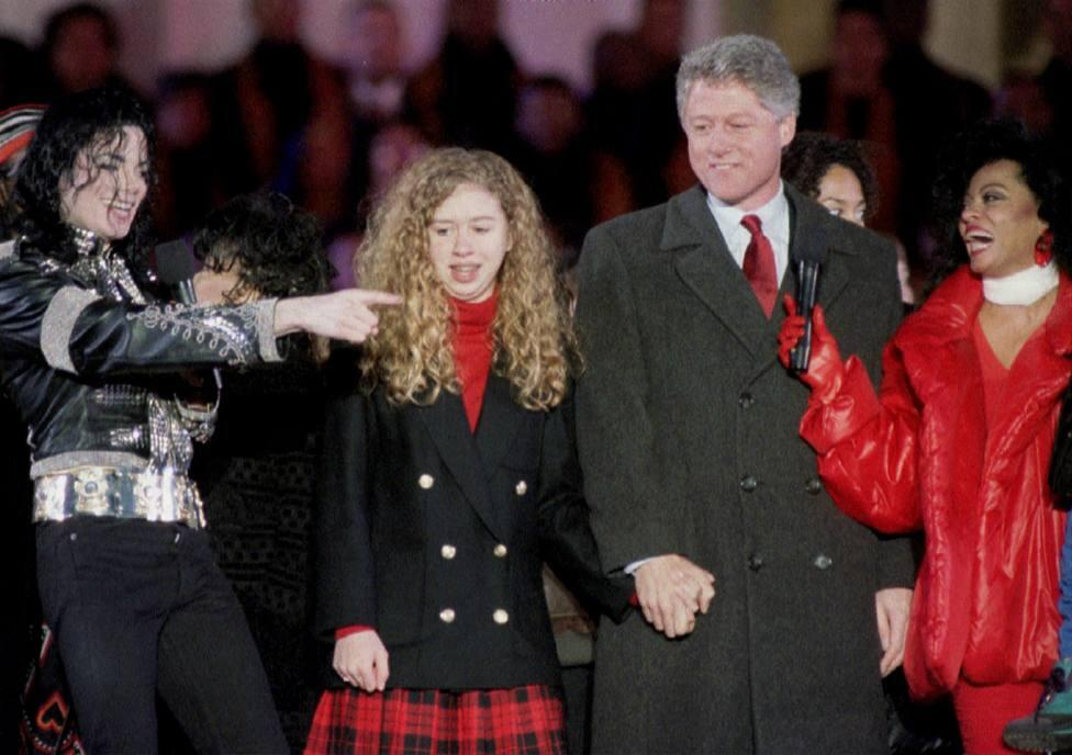 File photo of Michael Jackson appearing on stage with President-elect Bill Clinton, his daughter Chelsea and Diana Ross during the celebrations at the Lincoln Memorial -0151HW4L.JPG-