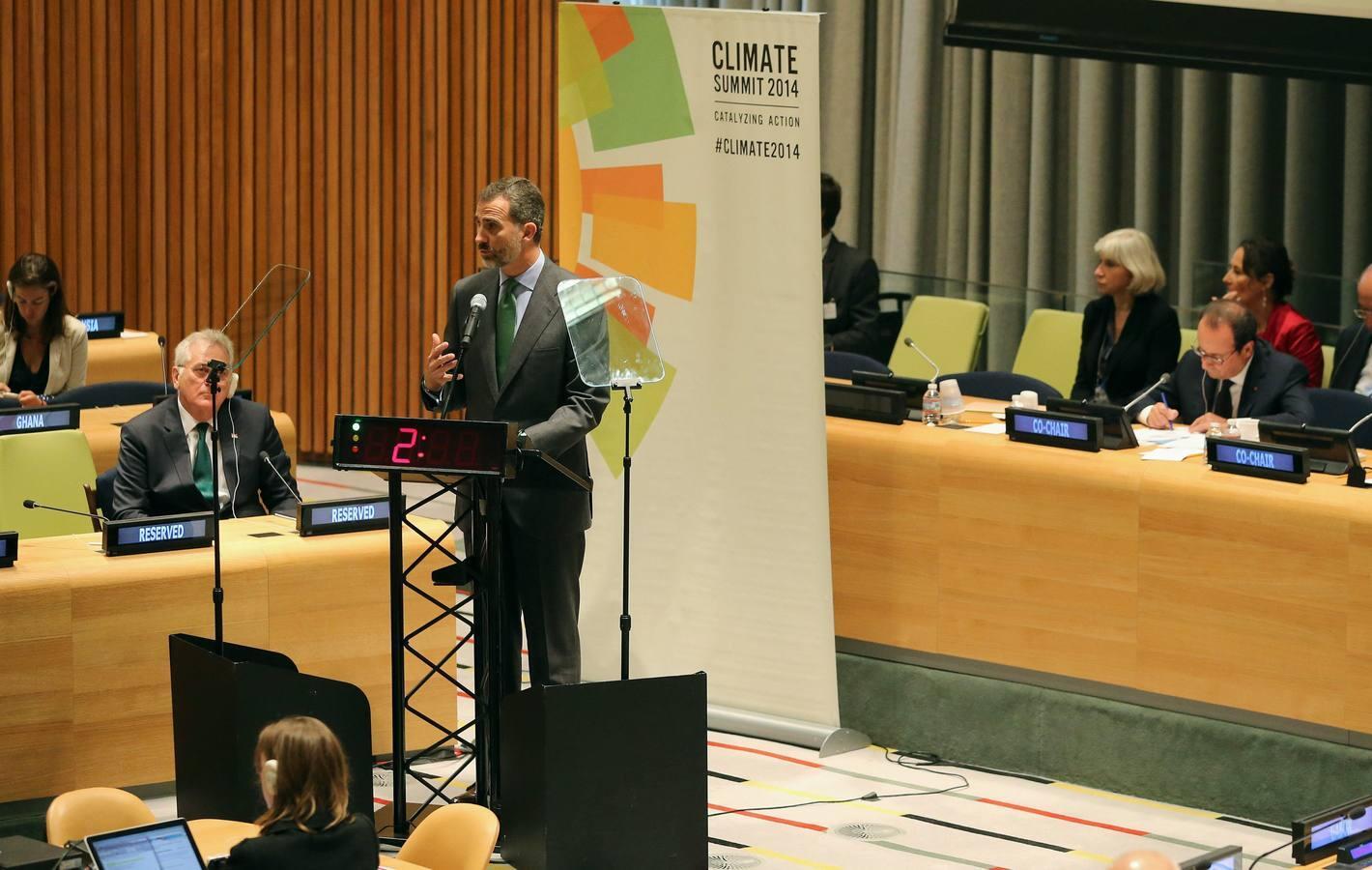 Los Reyes acuden a la Cumbre del Clima celebrada en la sede de Naciones Unidas, en Nueva York