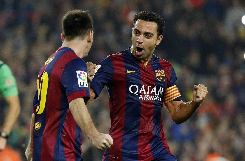 La celebración de Messi tras superar el récord de Zarra