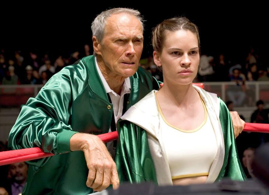 Junto a Hillary Swank en «Million Dollar Baby»