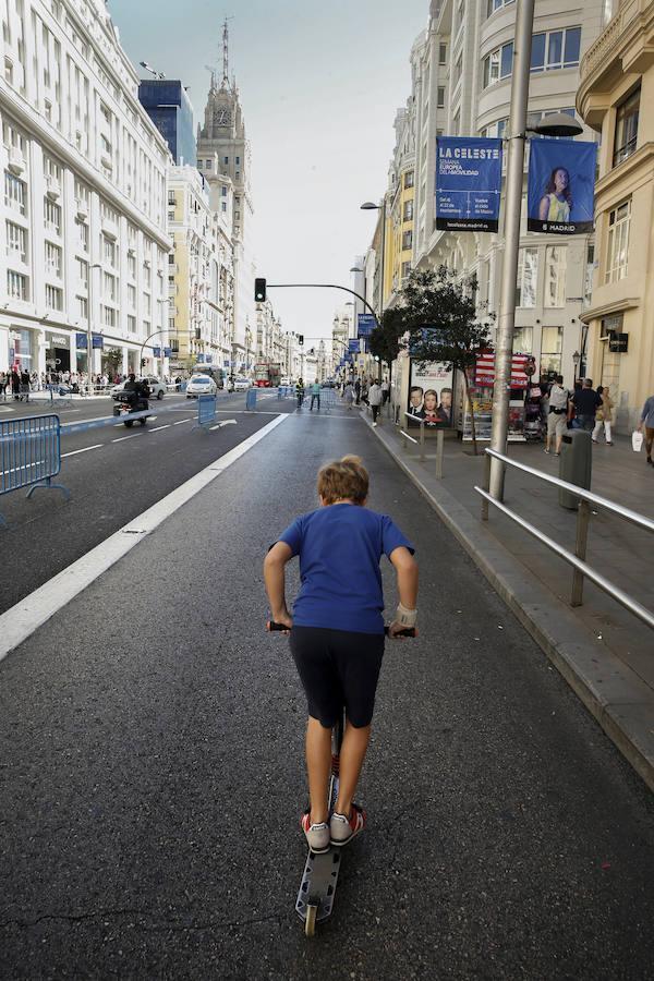 Las imágenes de la Gran Vía cortada al tráfico
