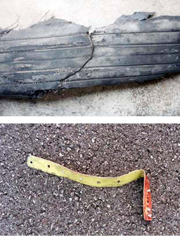 Arriba, fragmento de neumático del tren de aterrizaje del Concorde. Abajo, la tira metálica que provocó el pinchazo y el posterior accidente del avión