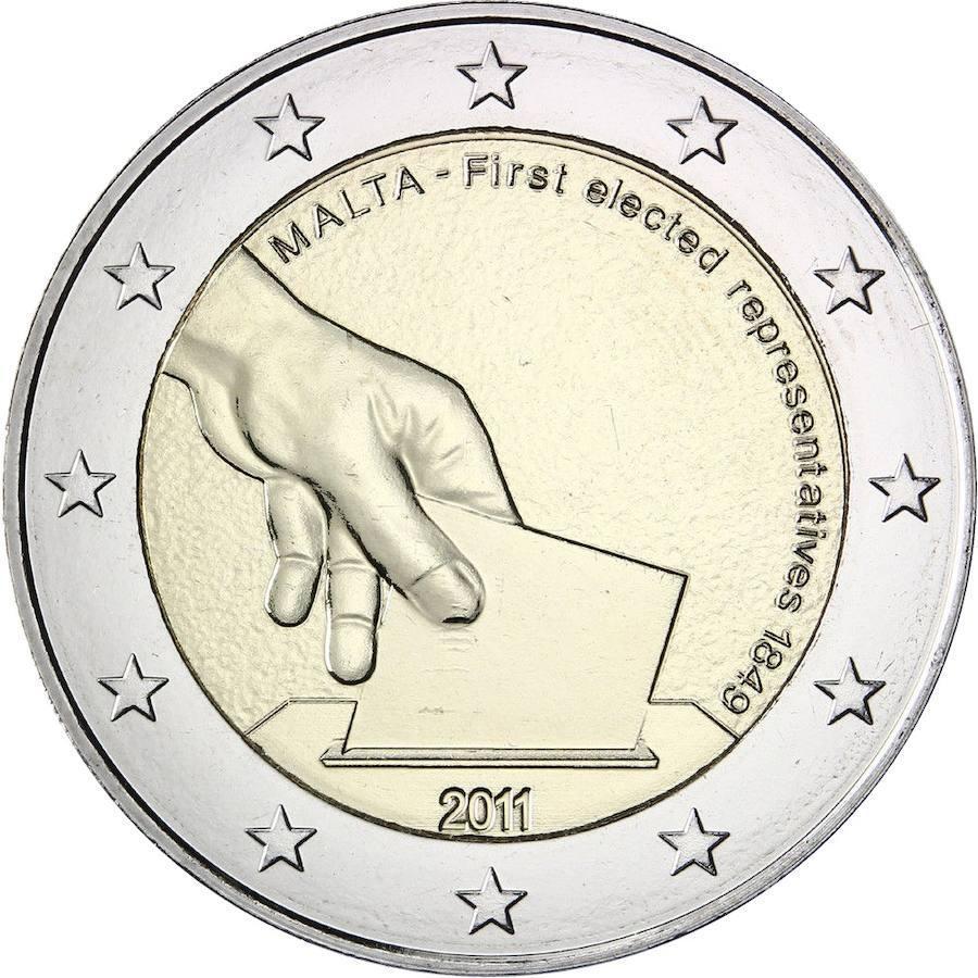 Malta (2011): se trata de una moneda conmemorativa de las primeras elecciones en 1849. Su valor se ha multiplicado por 20 en tan sólo 6 años y ahora su precio ronda los 20 euros. Se acuñaron 430.000 ejemplares.
