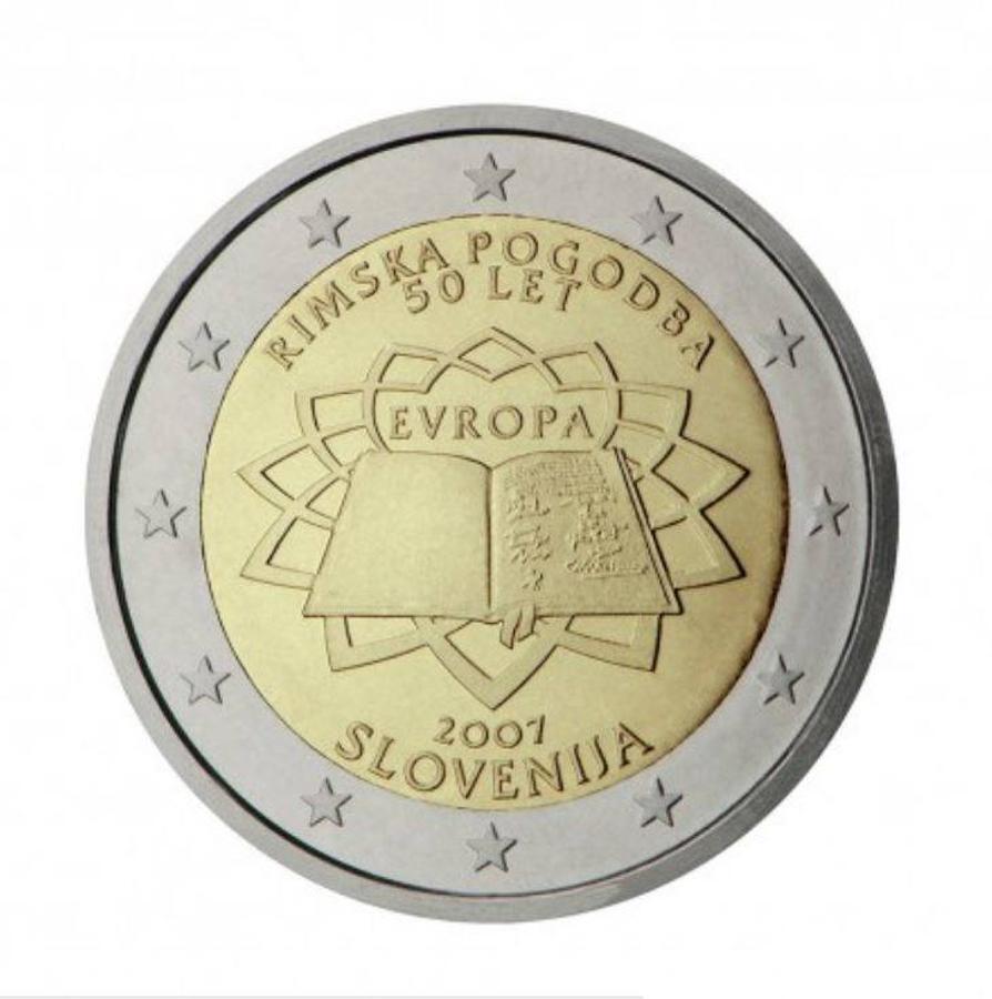 Eslovenia (2007): esta moneda con el Tratado de Roma como motivo se acuñó en todos los países del Eurogrupo, pero la de Eslovenia se revalorizó en poco tiempo hasta llegar a los 40 euros.