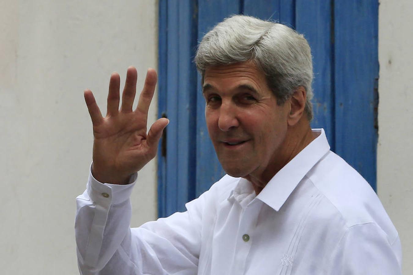 El secretario de Estado de Estados Unidos, John Kerry, a su llegada a la ceremonia oficial