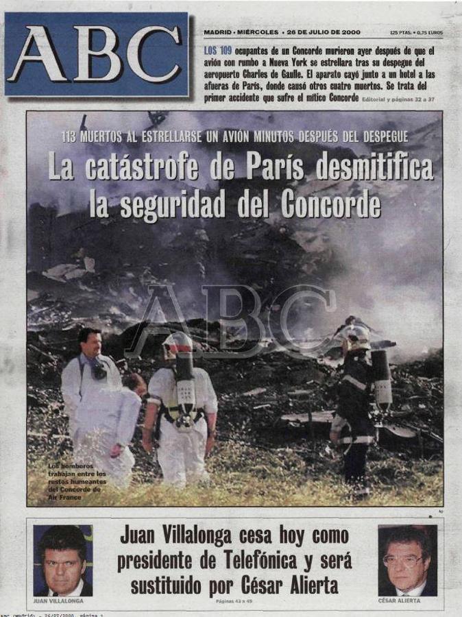 Portada del diario ABC el día posterior al accidente del Concorde