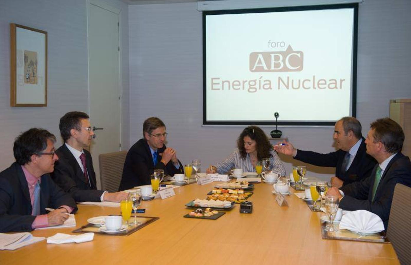 De iquierda a derecha, Arturo Rojas, de Afi (en segundo lugar); José Emeterio Gutiérrez, de Westinghouse Electric; Yolanda Gómez, subdirectora de ABC; Ignacio Araluce, del Foro Nuclear y Fernando Soto, de AEGE