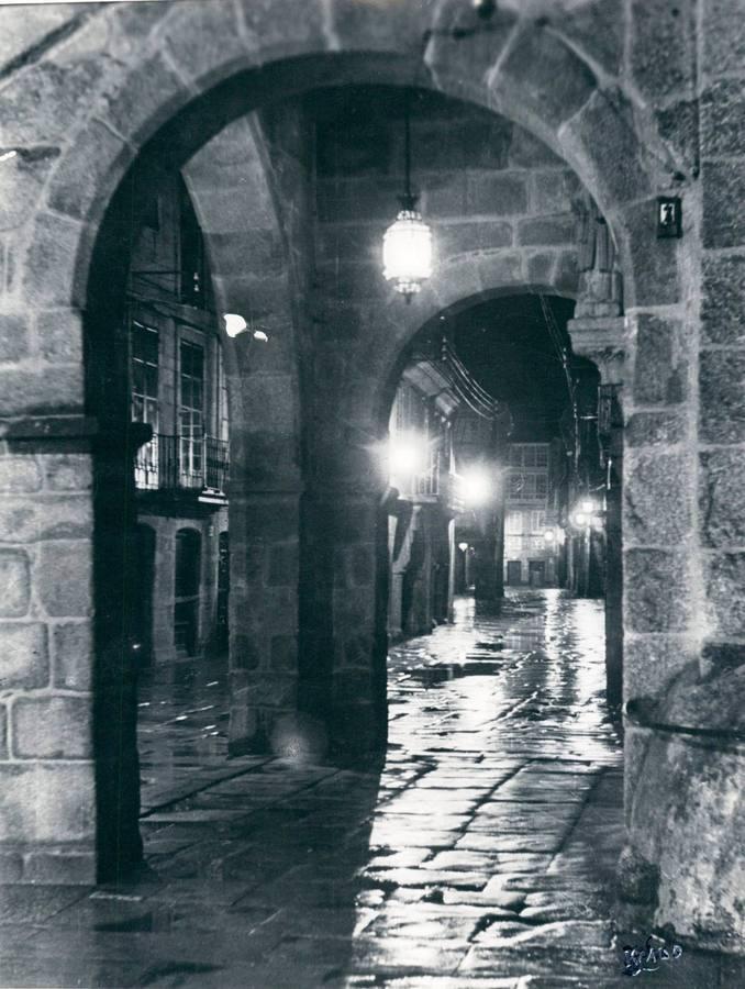 Rúa Nova, bajo la lluvia