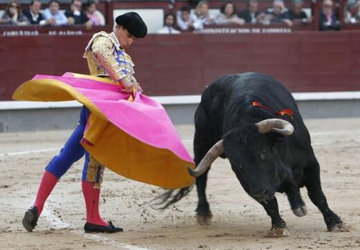 18/05/2010.- El diestro Rubén Pinar da un pase con lel capote a su primero