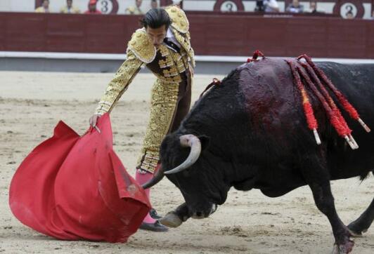 23/05/2010.- El diestro David Mora da un pase con la muleta a su primero