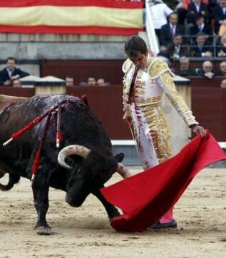 311/05/2010.- El diestro mexicano Arturo Macías da un pase con la muleta a su primero