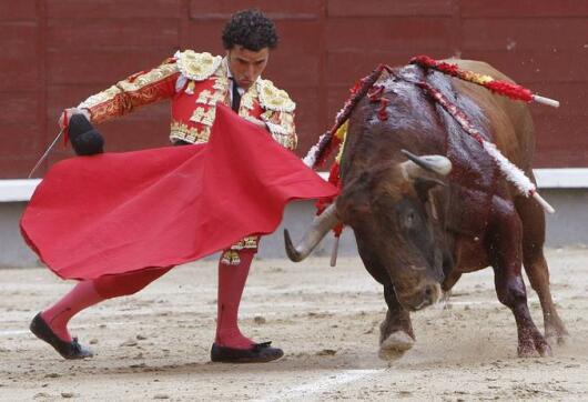 13/05/2010.- El diestro Matías Tejela da un pase con la muleta a uno de sus astados