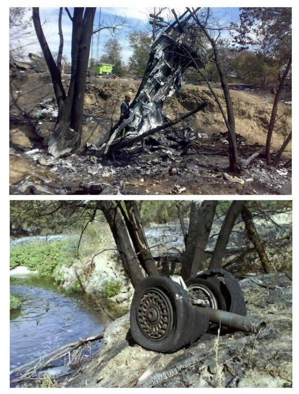 Partes del avión que se encontraron en el lugar del siniestro