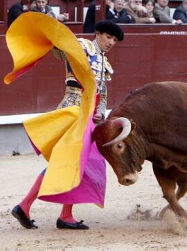 """14/05/2010.- El diestro Manuel Jesús """"El Cid"""" da un pase con el capote a su primero"""