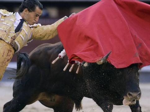 07/05/2010.- El diestro Ivan Fandiño da un pase con la muleta al segundo de su lote