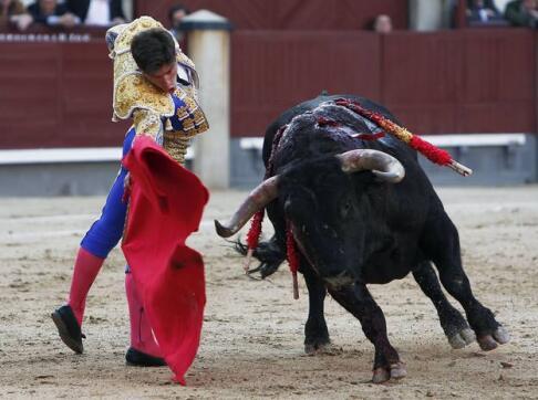 18/05/2010.- El diestro Rubén Pinar da un pase con la muleta a uno de sus toros