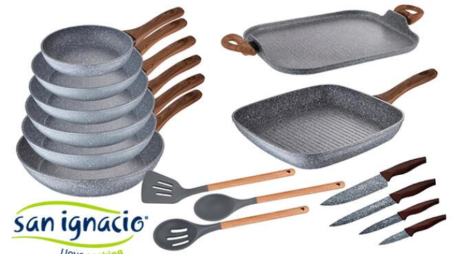 Pack 7 sartenes + asador+ cuchillos de cocina + utensilios de cocina SAN IGNACIO Daimiel